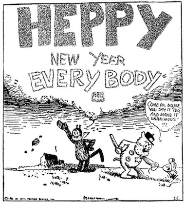 george herriman, krazy cat, special drawing of new year's day 1923 in des moines capital